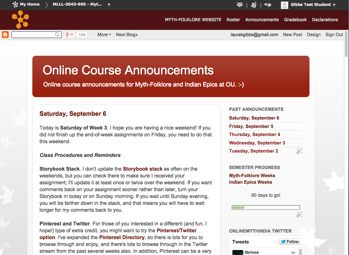 Anatomy of an Online Course: Class Announcements