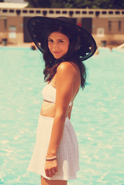 retro pool fashion sun hat girl white bandeau white shorts