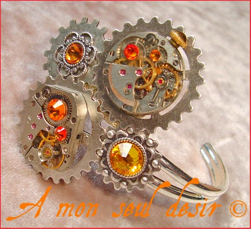 Bracelet Steampunk Rouages mouvement de montre mécanique mécanisme clockwork watchwork jewelry Métachronisme