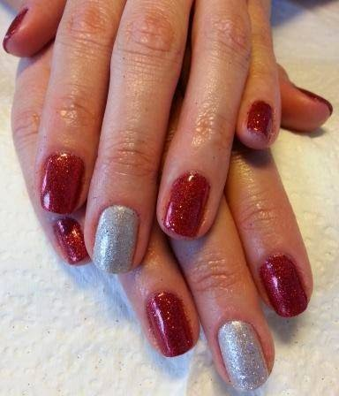 LED polish manicure glitz gel back-fill and re-balance acrylic and LED polish with nail art gel french acrylics and glitz