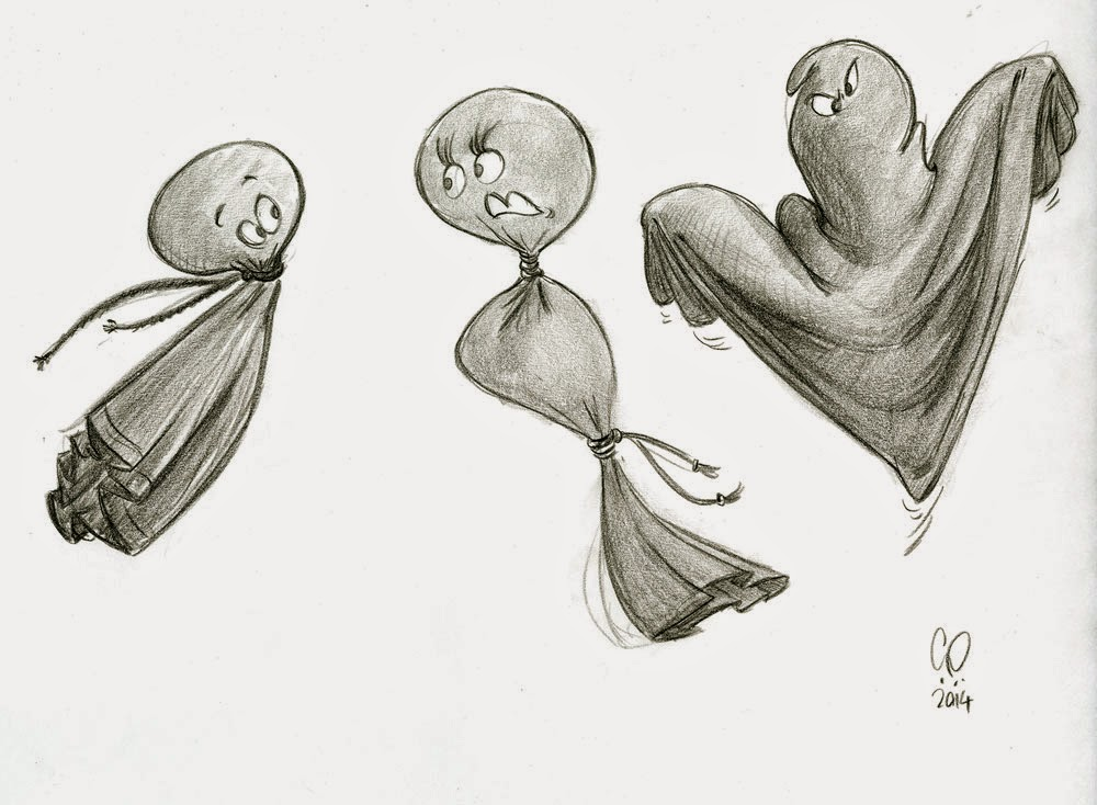 Halloween - Ghost Characters - illustration drawing in pencil by Cesare Asaro - Creative Director at Curio & Co. (Curio and Co. - www.curioanco.com)