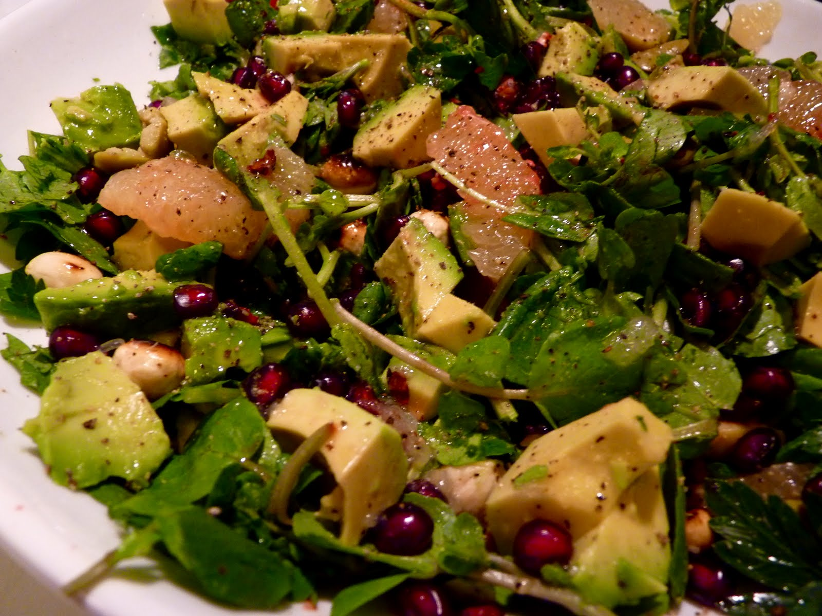 ... : Smashed Green Olive & Grapefruit Salad with Pomegranate & Avocado