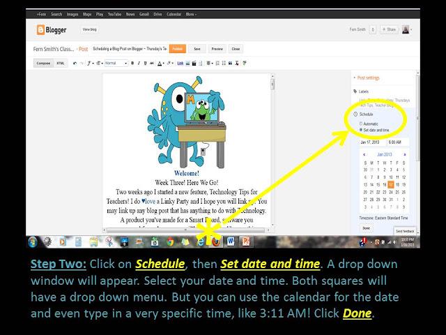 Scheduling a Blog Post on Blogger ~ Thursday's Tech Tips for Teachers! Fern Smith's Classroom Ideas!