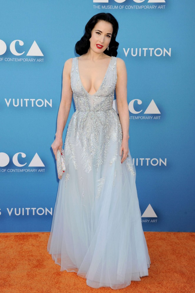Dita Von Teese is glamorous in a plunging gown at the 2015 MOCA ...
