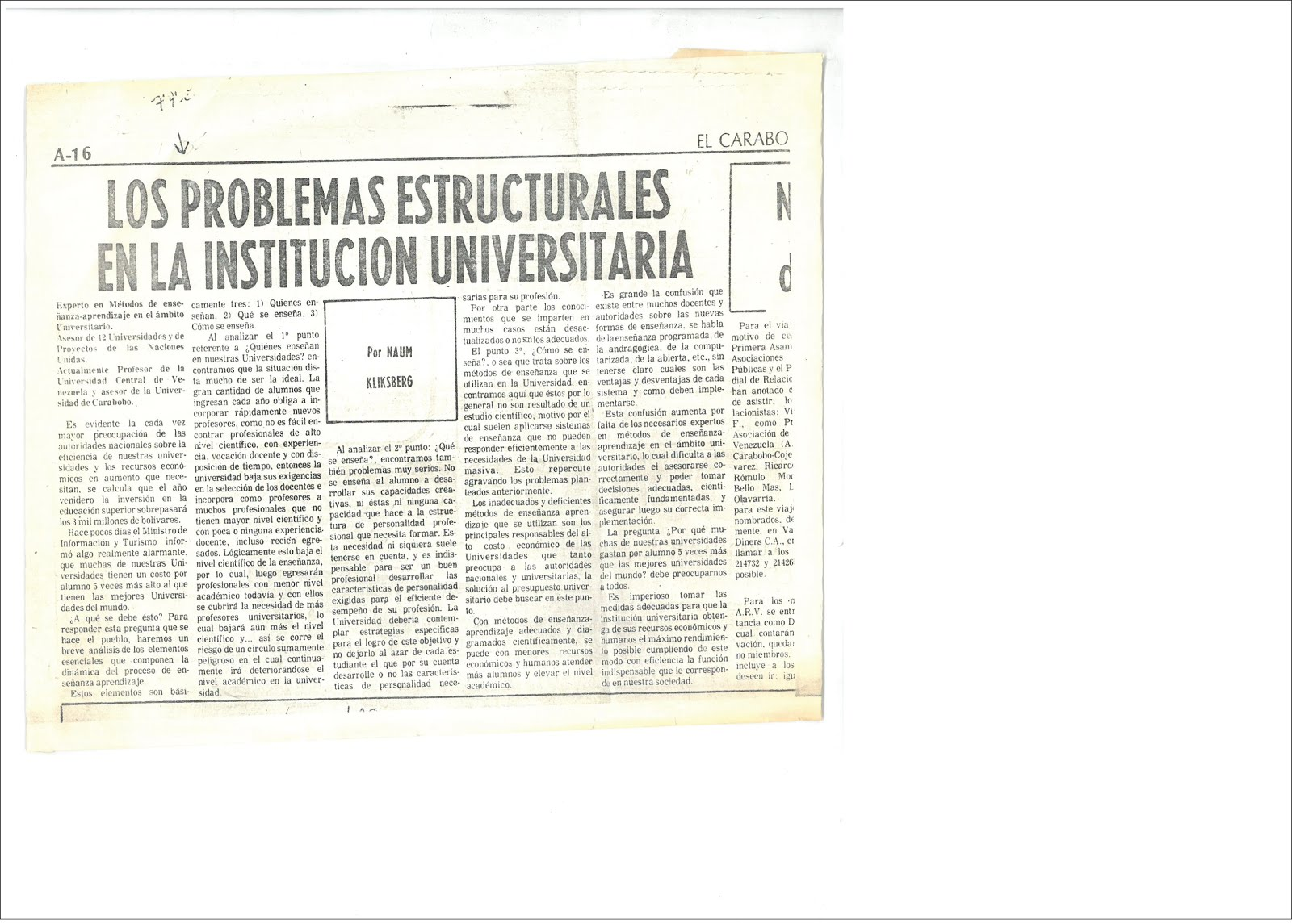 24 -  PERIODICO EL CARABOBEÑO, VENEZUELA. ARTICULO DE NAUM KLIKSBERG
