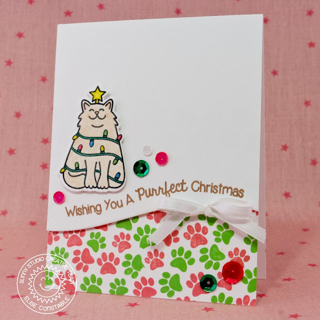 Sunny Studio Santa's Helpers Kitty Cat Christmas Card by Elise Constable