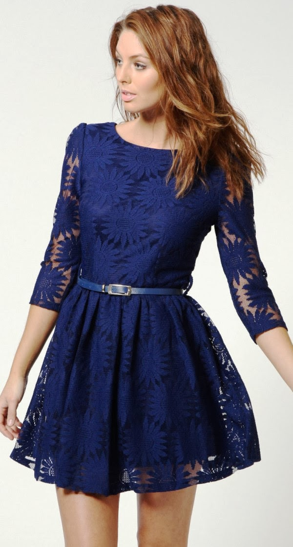 Adorable floral lace mini dress fashion style
