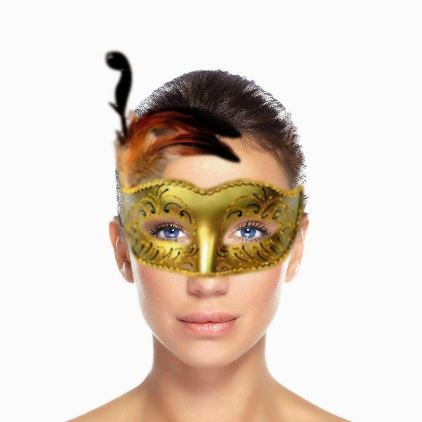 Mulher Máscarada de Brilhantes e plumas gold