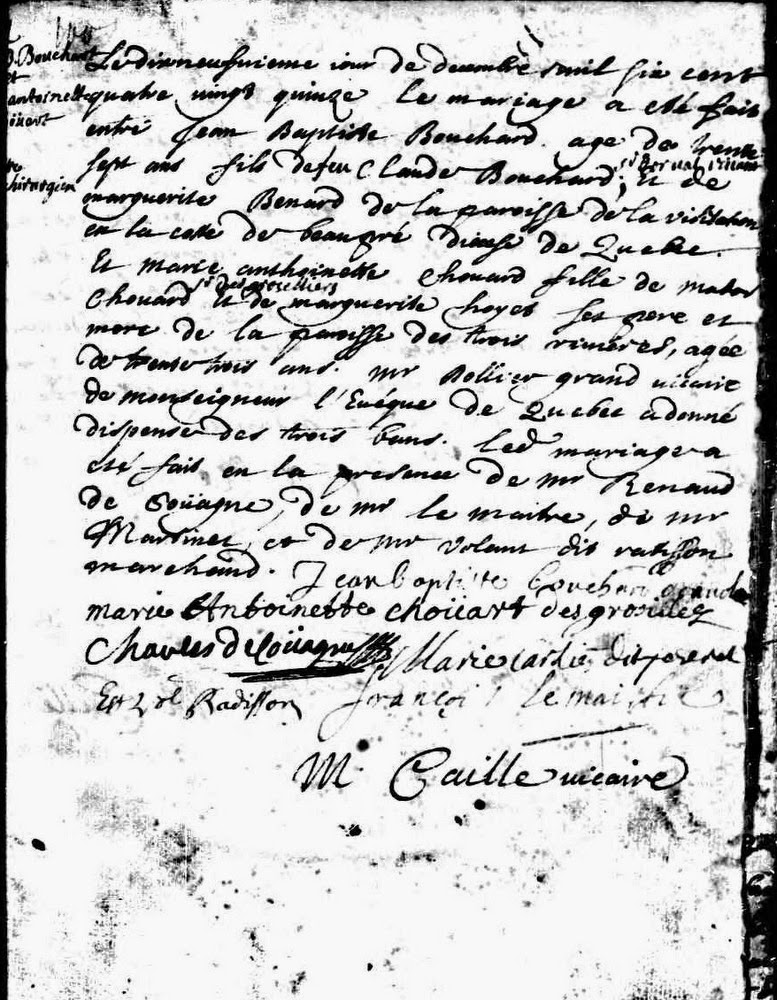 Marie-Antoinette Chouart marriage record of 1695