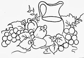 desenho de jarra com cajus e uvas