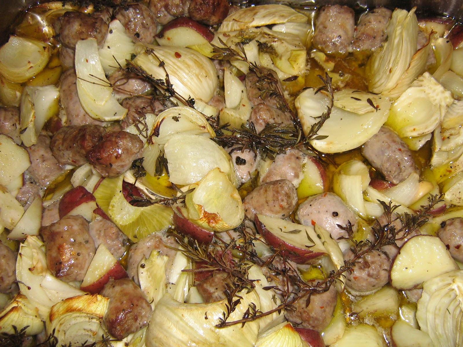 pensieri meridionali: salsicce, finocchi, e patate rosse al forno - Cucinare Finocchietti