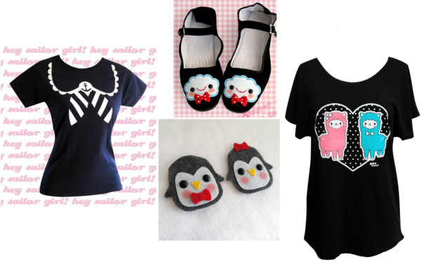 Etsy wishlist, wish list, emandsprout, homemade, cute, adorable, kitstch, cloud shoes, sailor print top, alpaca shirt, felt penguins, A Coin For the Well