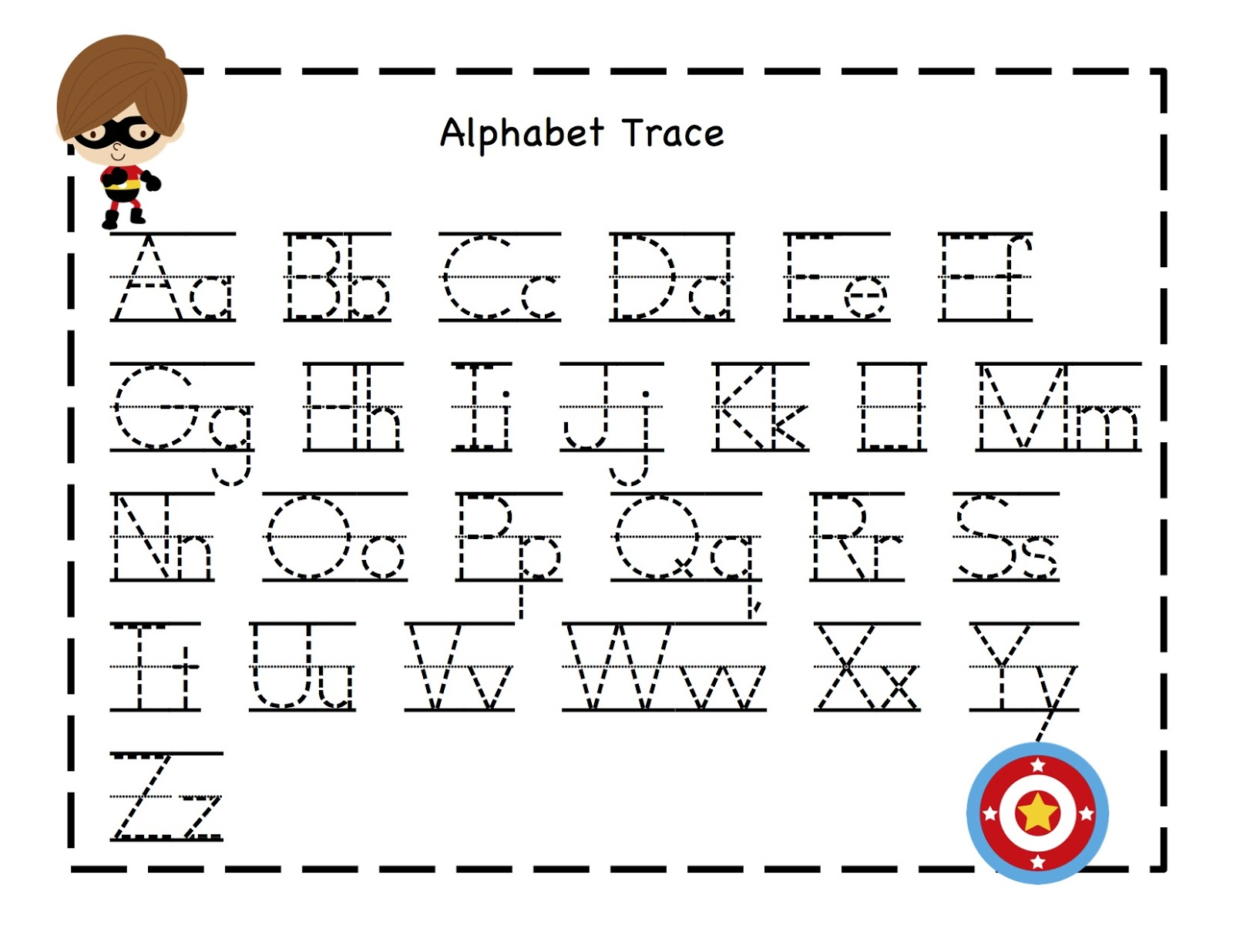 Alphabet tracing sheet.