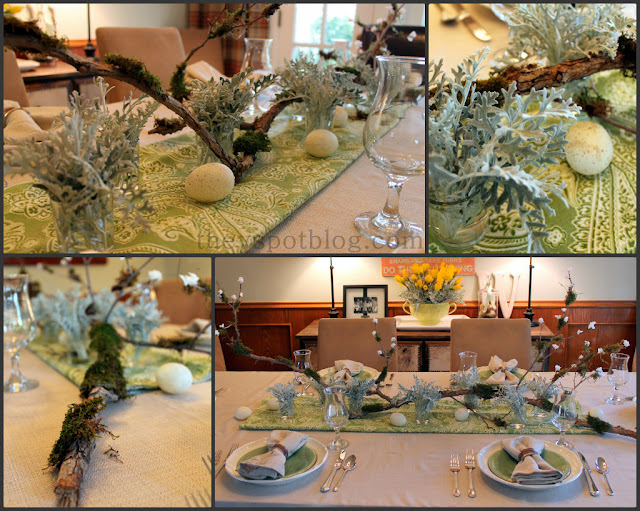 centerpiece, branch, moss, sticks, spring, Easter, table