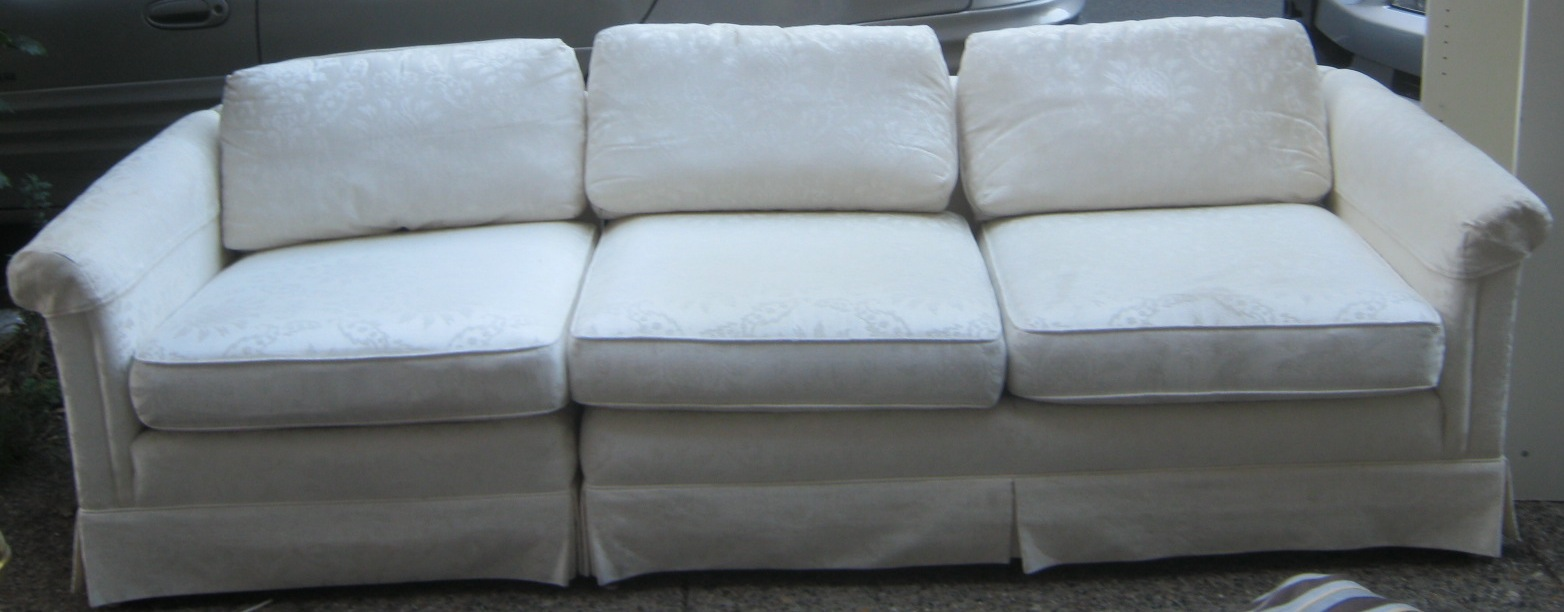 Two Piece Sofa In Ivory Damask Sold