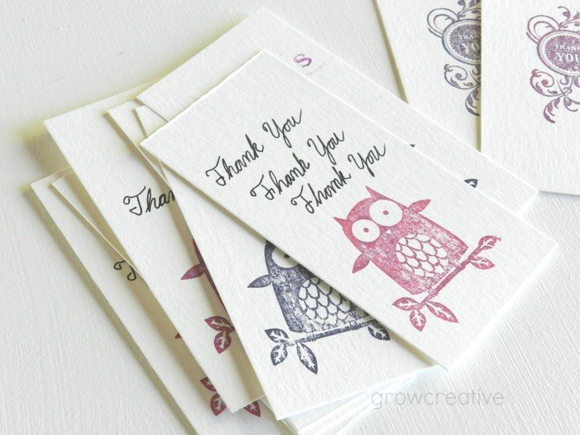 stamped mini thank you note cards on watercolor paper