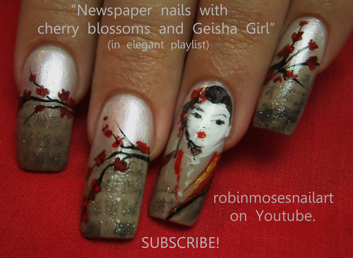 Geisha nail art cherry blossom nails newspaper nail art