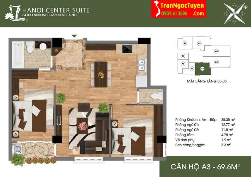 Thiết kế căn hộ A3 84 Thợ Nhuộm