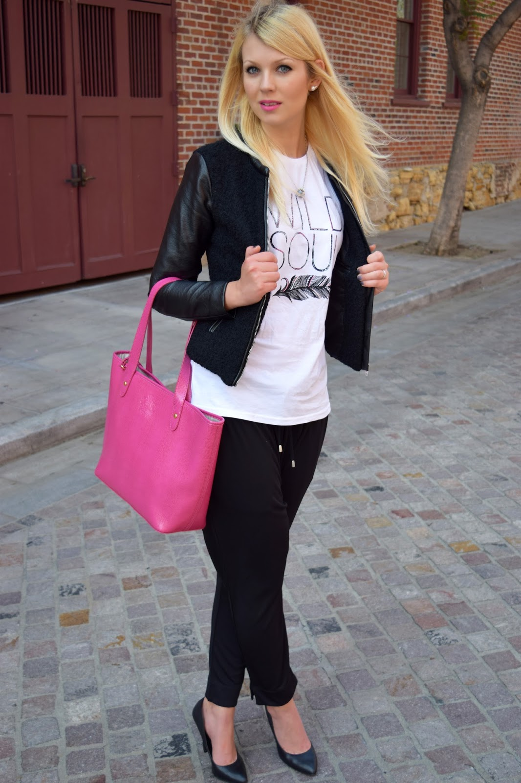 H&M leather jacket, Ralph lauren purse