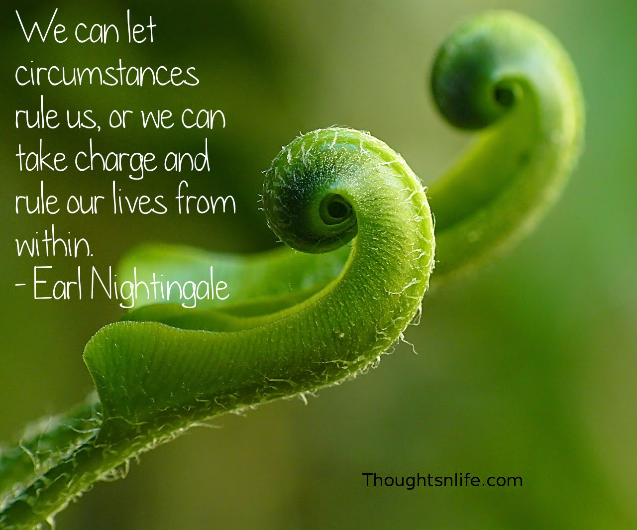 Thoughtsnlife.com: We can let circumstances rule us, or we can take charge and rule our lives from within. - Earl Nightingale