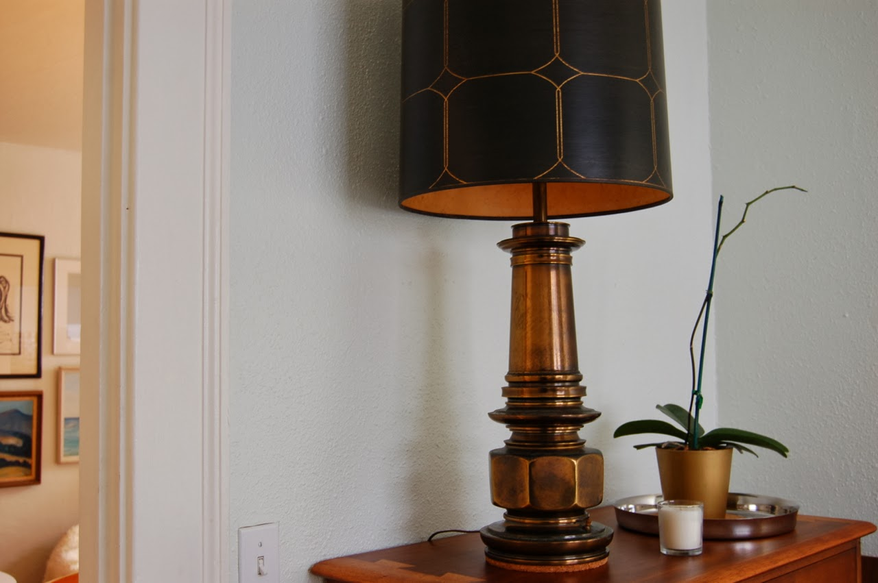 Secondhand goods real things light and dark thrifted vintage brass stiffel table lamp with black and gold patterned shade aloadofball Images