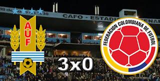Placar Uruguai 3x0 Colômbia