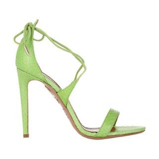 Aquazzurra Linda Lime Green Snake Ankle Tie Lace Up Sandals