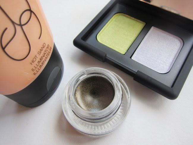 NARS Hot Sand Illuminator, Tropical Princess eyeshadow duo, Baalbek Bronze eye paint