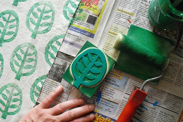 Linoldruck auf Baumwolle