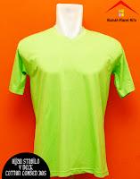 Jual Kaos Polos V Neck hijau stabilo