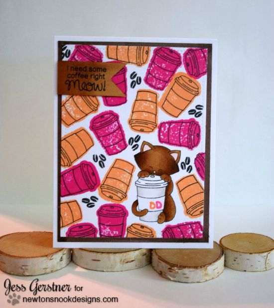 Coffee Cat Card by Jess Gerstner | Newton Loves Coffee Stamp set by Newton's Nook Designs #newtonsnook #coffee