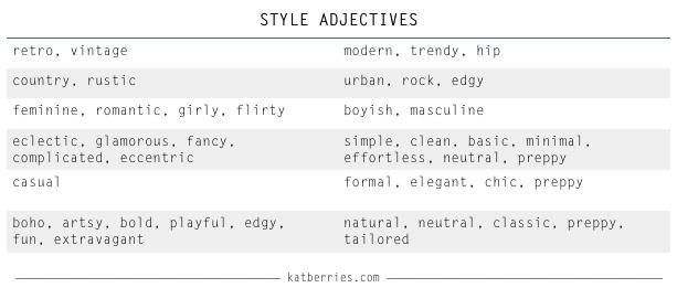 style dichotomy, retro - modern, country - urban, simple, minimal - fancy, boho - preppy