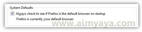 Gambar: Status firefox sebagai default browser di komputer/laptop