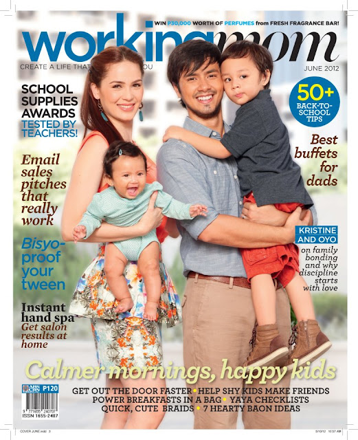 Kristine Hermosa, Oyo Sotto and Kids Kiel and Ondrea Bliss on the cover of Working Mom June 2012