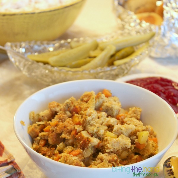 Gluten-free vegan stuffing - use up bread crusts and heels too!