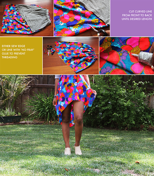 Turn a long, maxi skirt into a trendy high-low skirt in under 5 minutes using basic supplies!