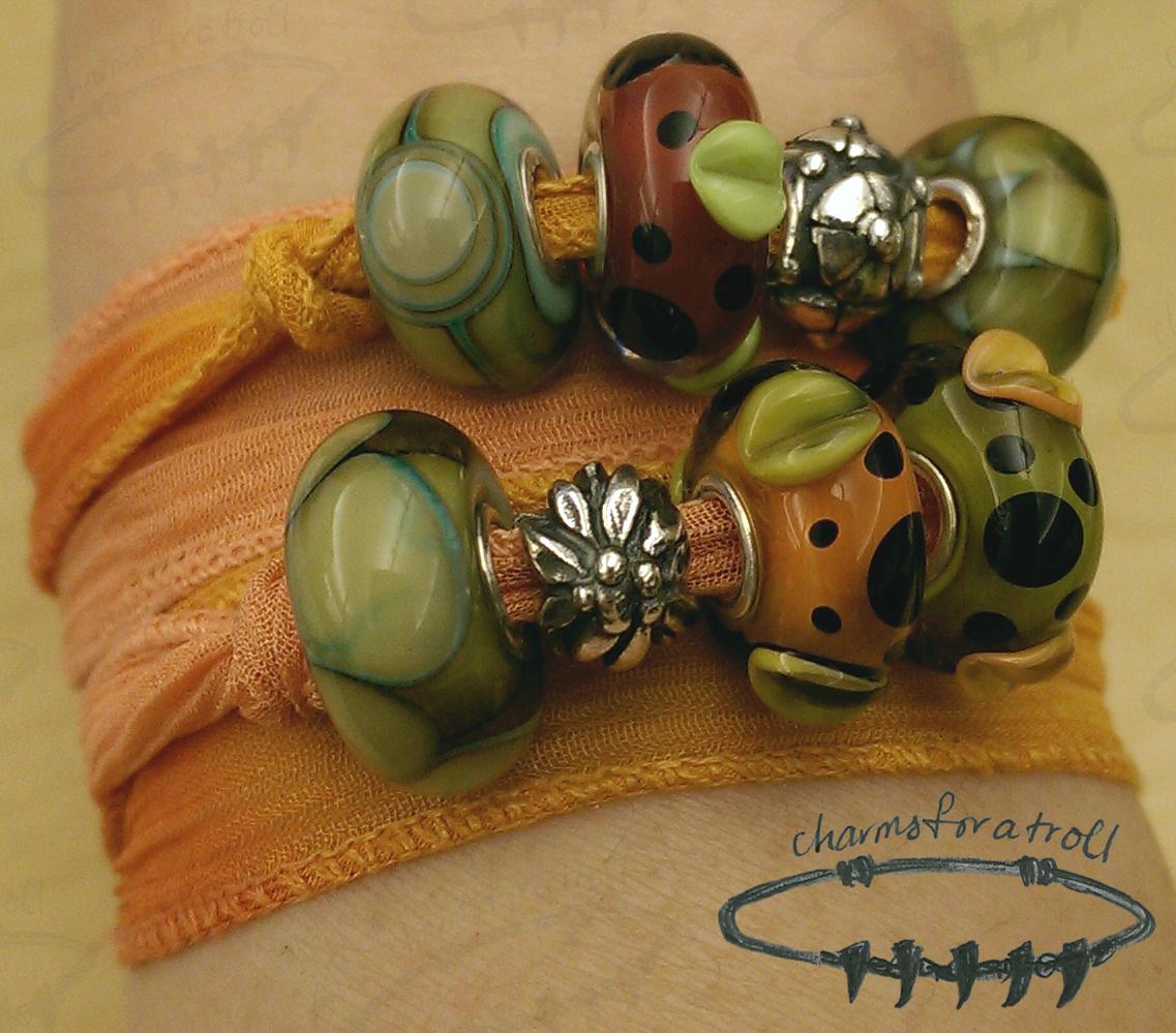 Novobeads Pumpkin Silk Wrap, Trollbeads Native Elements Kit, Trollbeads Mountain Flower, Trollbeads Christmas Rose