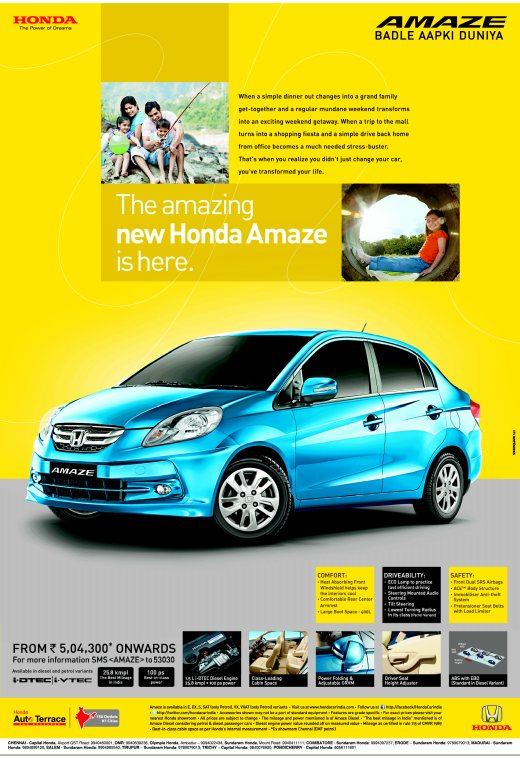 Honda Amaze Print Amp Tv Advertisement Video Out Garners