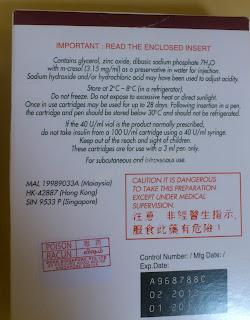 Insulin lispro (rDNA origin) Humalog 100U/ml (10ml cartridge for injection)