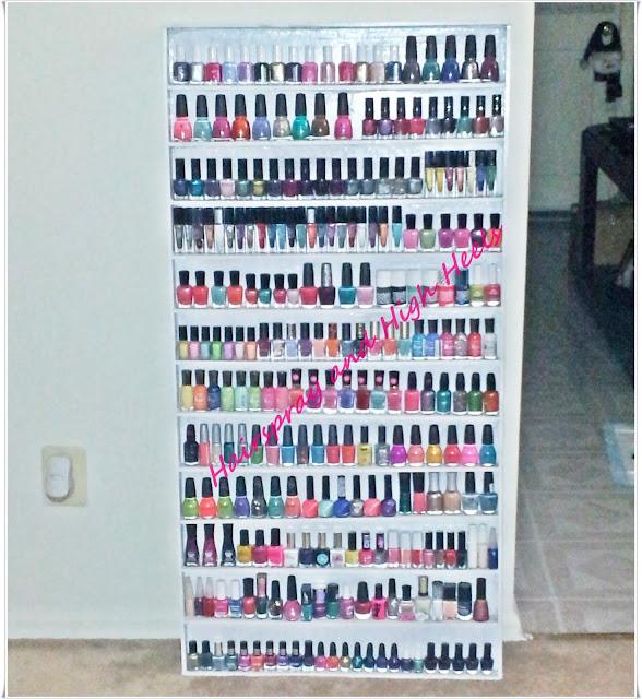 how to make a nail polish shelf