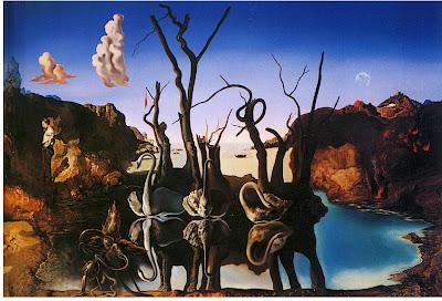 Salvador Dalì cigni che riflettono elefanti