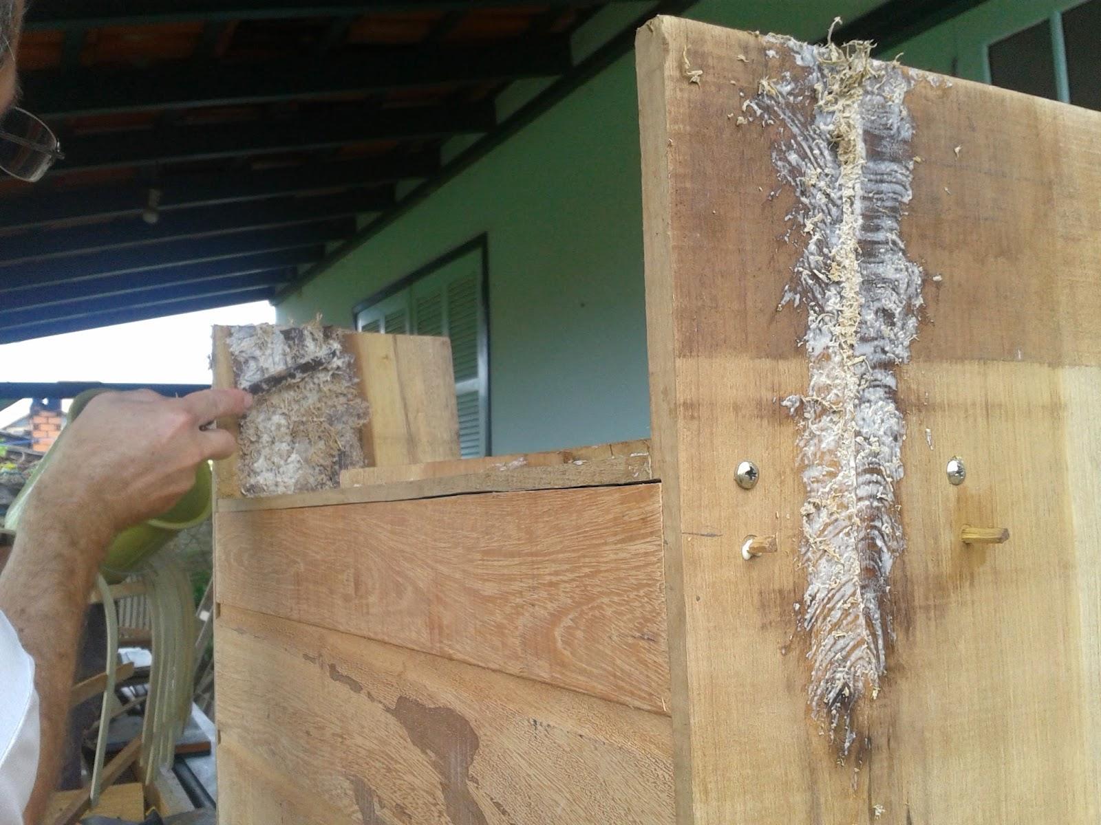 Mistura de cola com serragem para cobrir imperfeições da madeira. #31486B 1600x1200