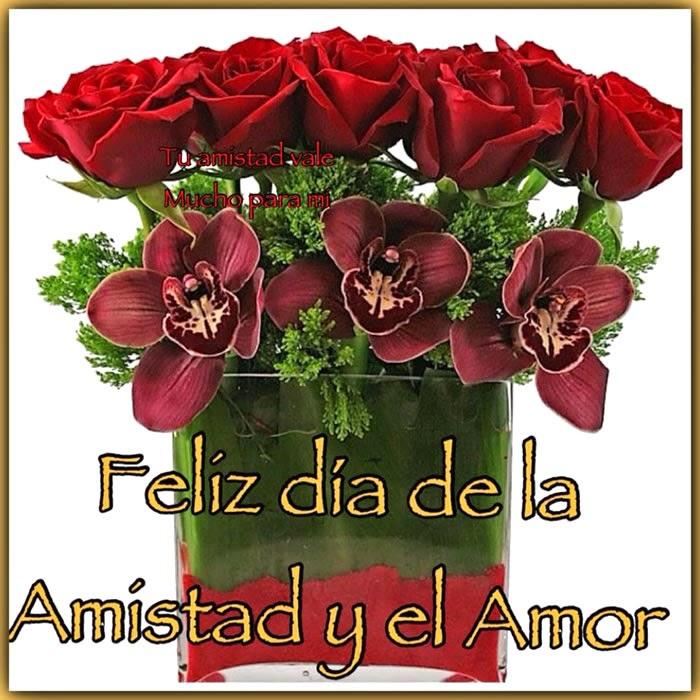 Ramo de flores feliz día del amor y la amistad
