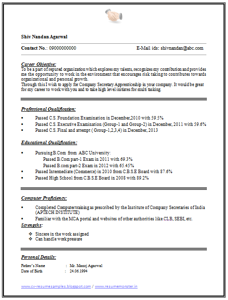 ... and Resume Samples with Free Download: One Page Simple Resume Format