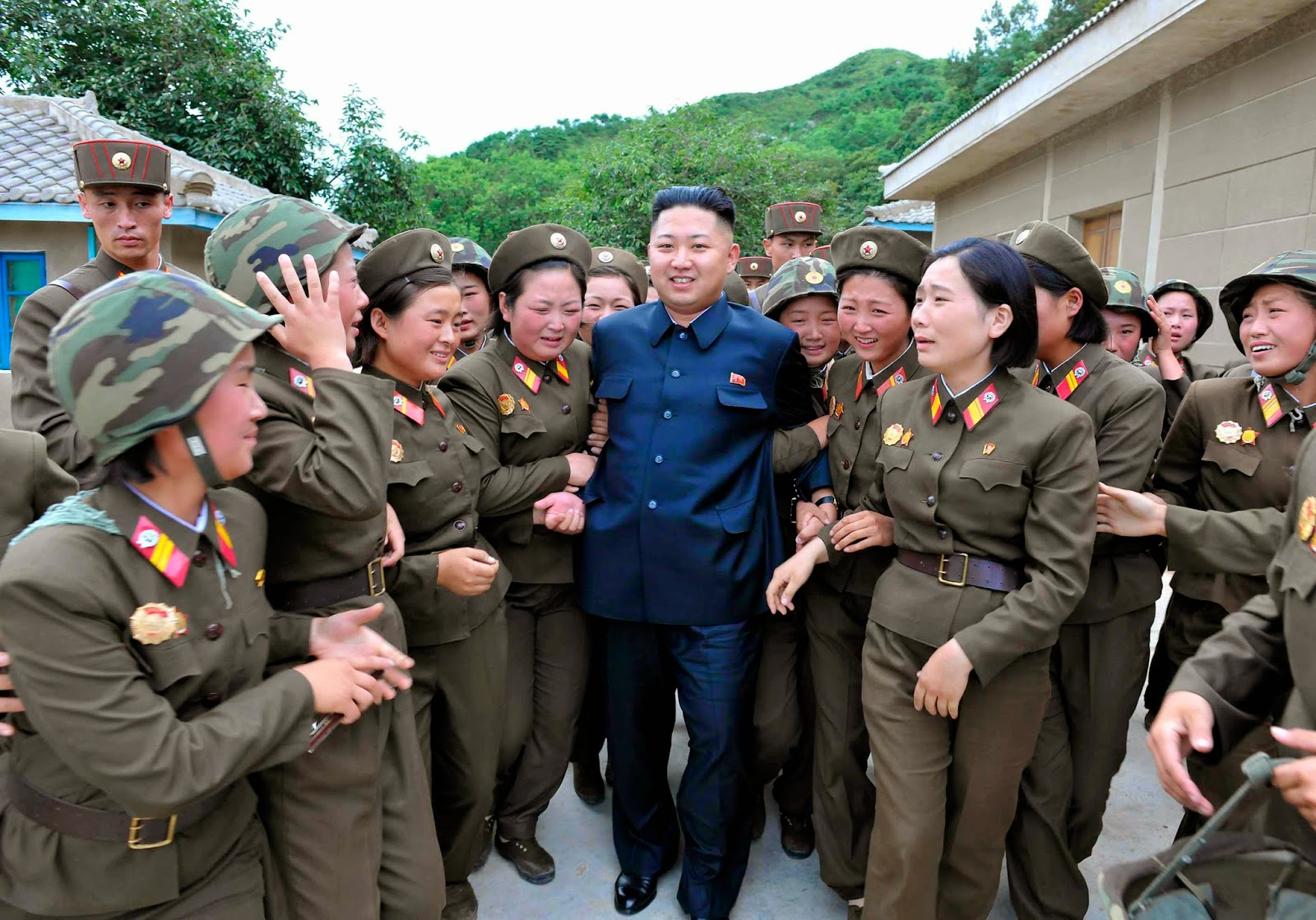 the Army officers are very happy to see the president Kim Jong-un