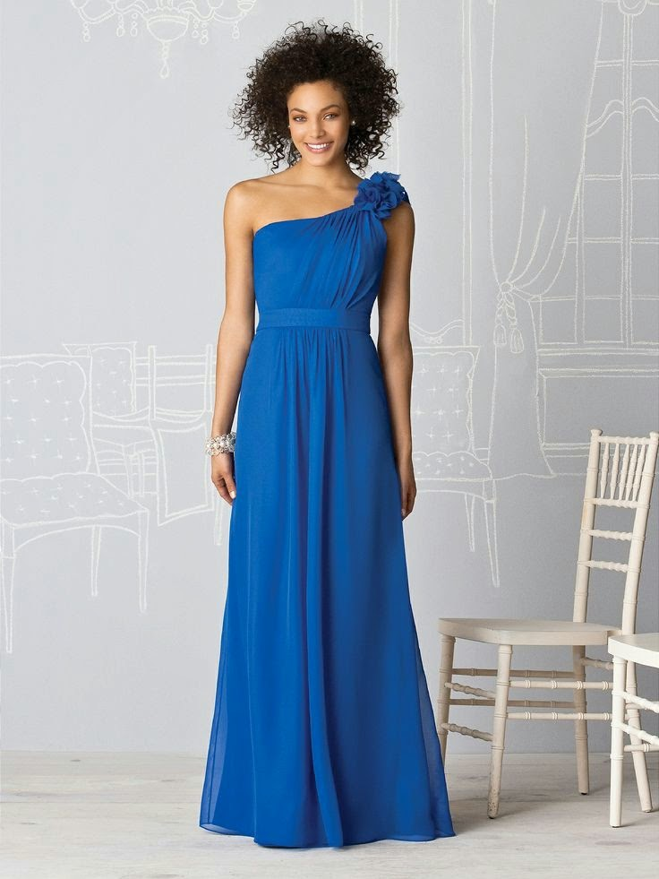 A-line One Shoulder Floor-length Chiffon Royal Blue Dress
