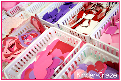supplies and ideas for decorating Valentine mailboxes