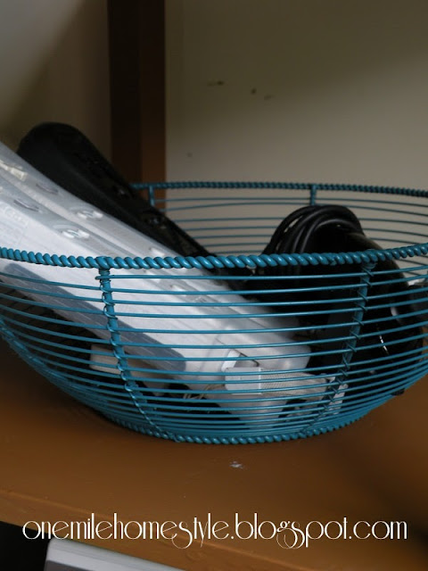 Wire basket to hold video game controllers