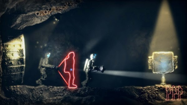 Screenshot of video game The Swapper. The player character is running through a cave with a flashlight, and one of his clones can be seen as well.