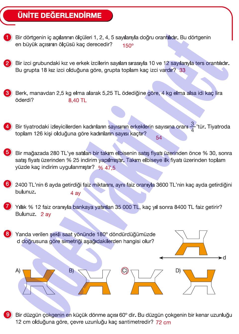 Oguzhocam Meb Yayinlari 7sinif Matematk Ders Ktabi Cevaplari 2015 ...